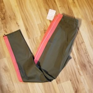 New Free People M olive green and pink leggings